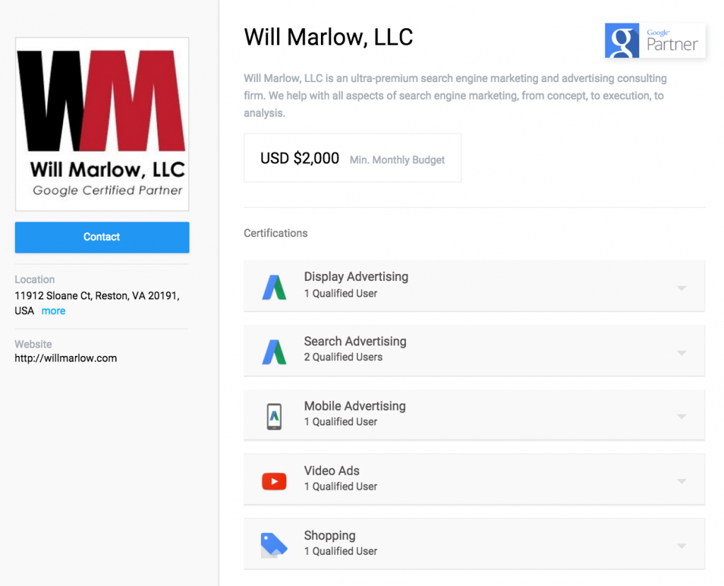 Google AdWords Certified Partner Company Page