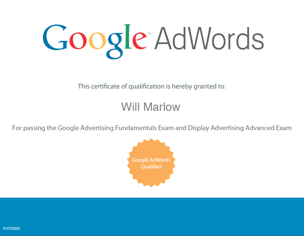 Google Adwords Display Certification Will Marlow