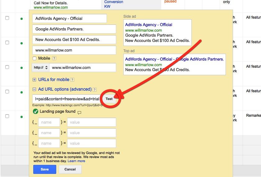 Testing Google Final URL