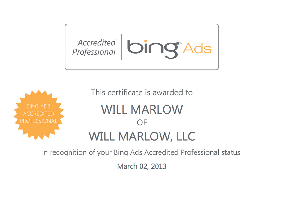 Google Certifications Will Marlow