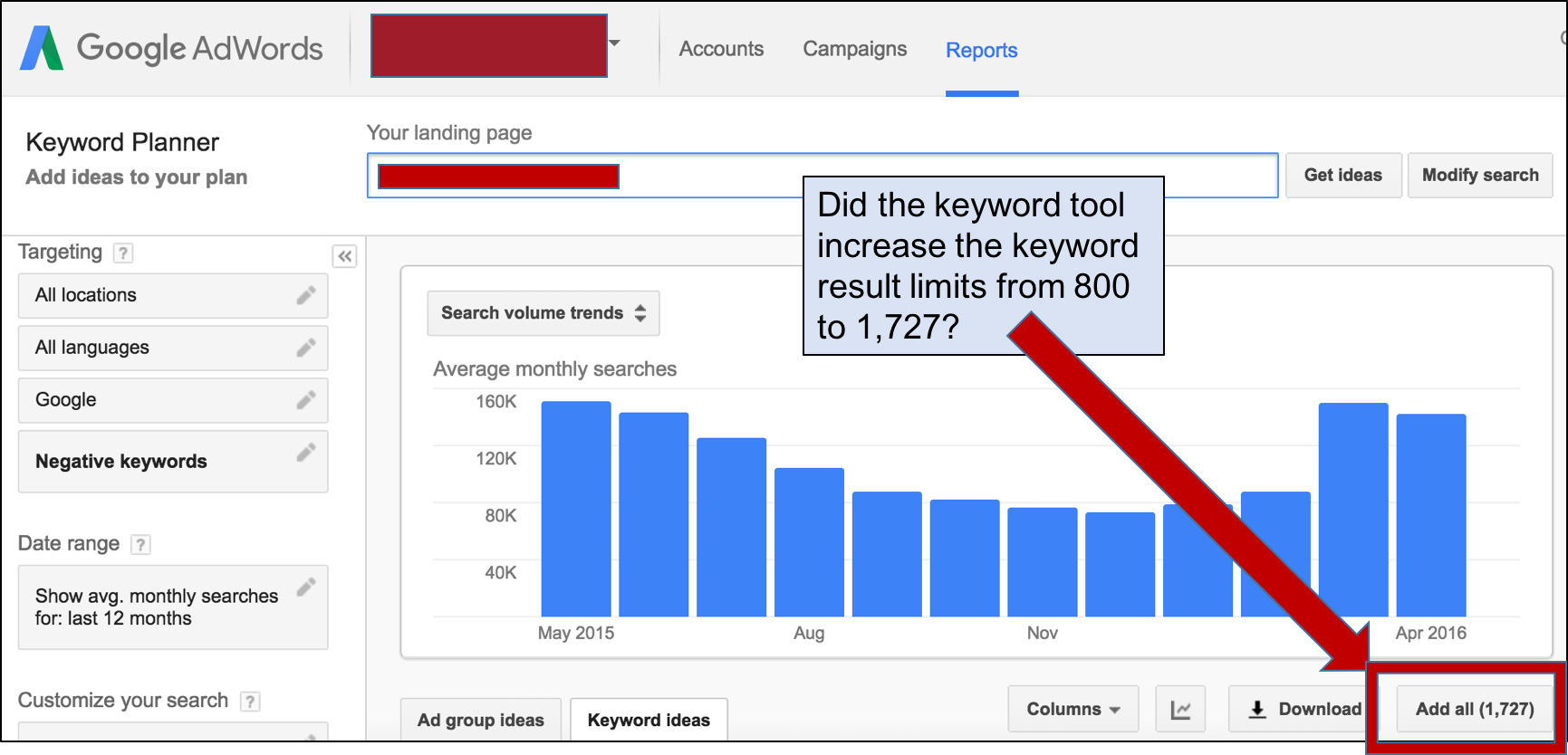 Has Google Increased the Limits of the Google Keyword Planner?