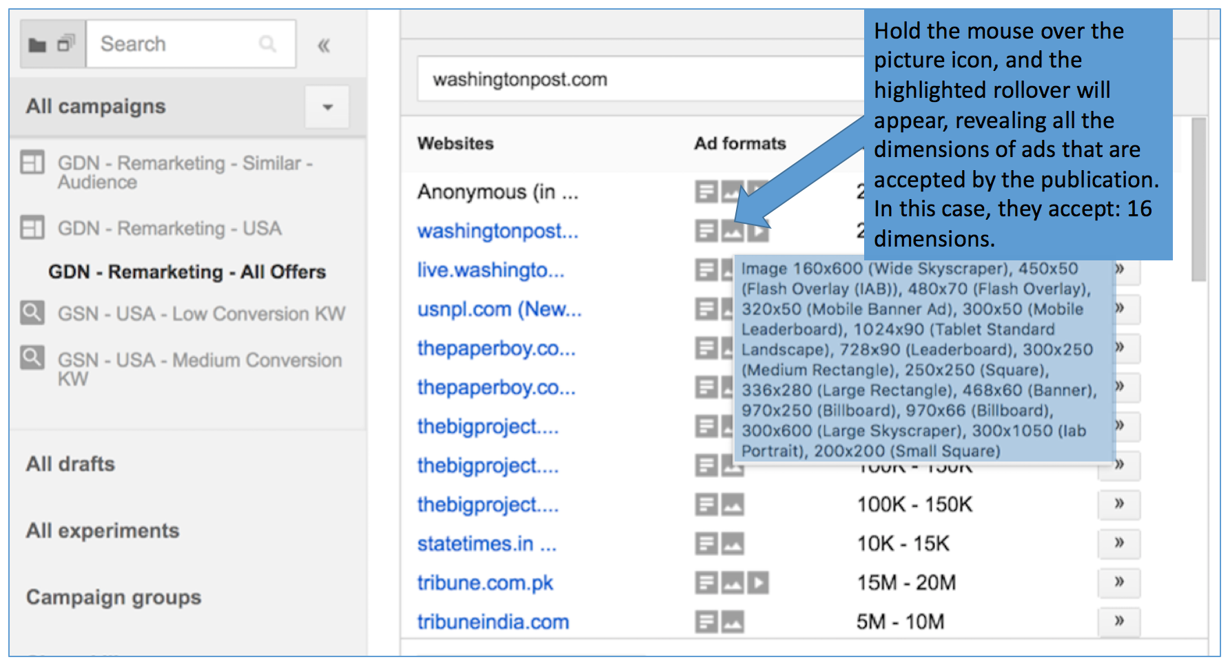 Select Ad Types for Google Display Image Ads