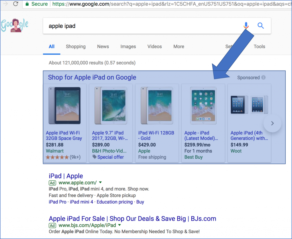 Google Shopping Ads Example - PLAs